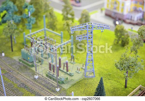 umspannwerk, modell, elektrisch - csp2607066