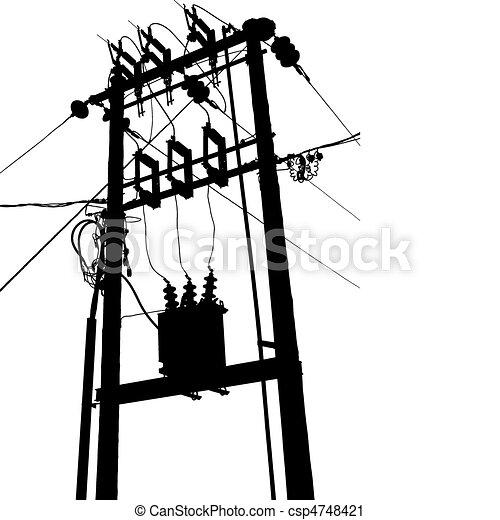 Umspannwerk, transformator, elektrisch. Umspannwerk,... Vektor ...