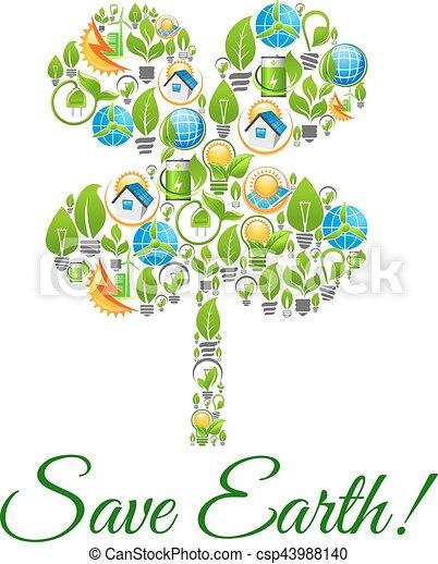 Umwelt, erde, begriff, schutz, retten. Ökologie, batterie, haus ...