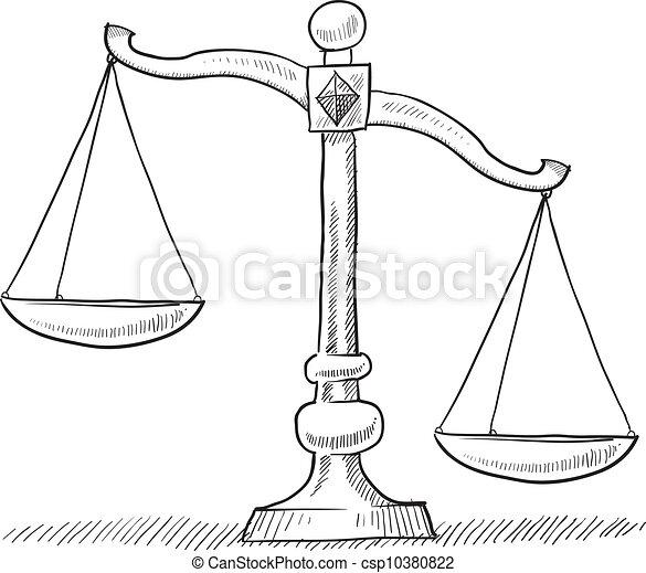 Unbalanced scales of justice sketch - csp10380822