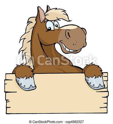Pferd mit einem leeren Schild - csp4982327