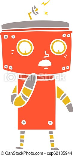 uncertain flat color style cartoon robot eps vector csp
