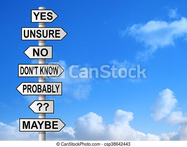 Uncertain Questions Signpost - csp38642443