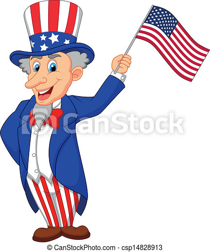 vector illustration of uncle sam cartoon holding american flag rh canstockphoto com clipart american football america clip art free