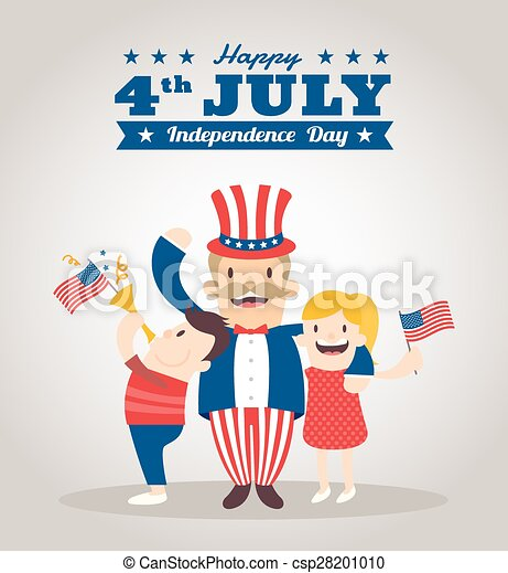 Uncle Sam Cartoon With Kids, Happy 4th Of July Independence Day Celebration    Csp28201010