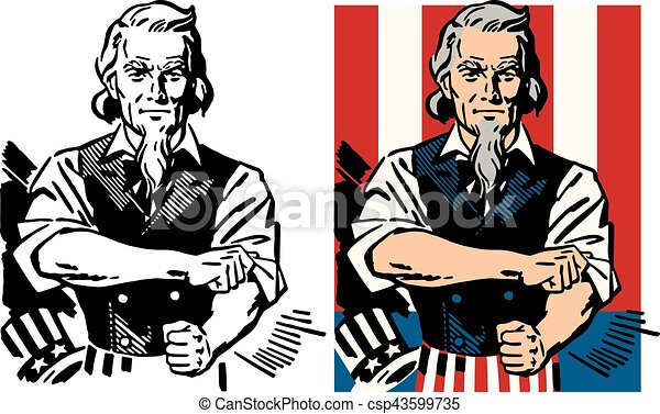 american icon uncle sam rolls up his sleeve rh canstockphoto com uncle sam cartoon vector uncle sam silhouette vector