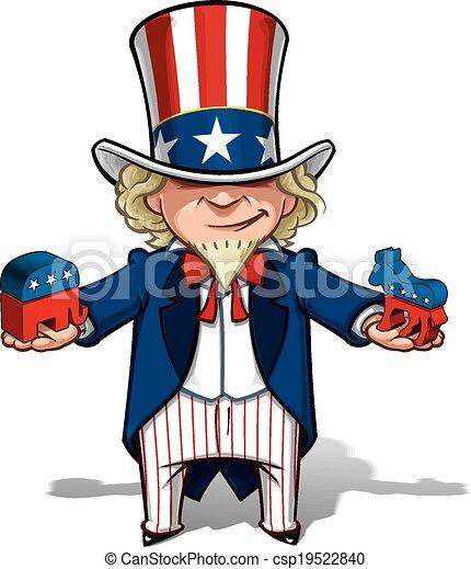 Uncle Sam Republican n Democratic - csp19522840