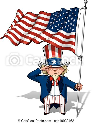 Uncle Sam Saluting the US Flag - csp19932462