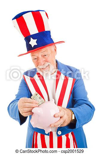 Uncle Sam Saving Money - csp2001529