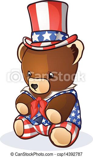 Uncle Sam Teddy Bear Cartoon - csp14392787