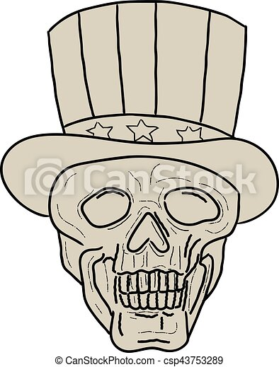 Uncle Sam Top Hat Skull Drawing - csp43753289