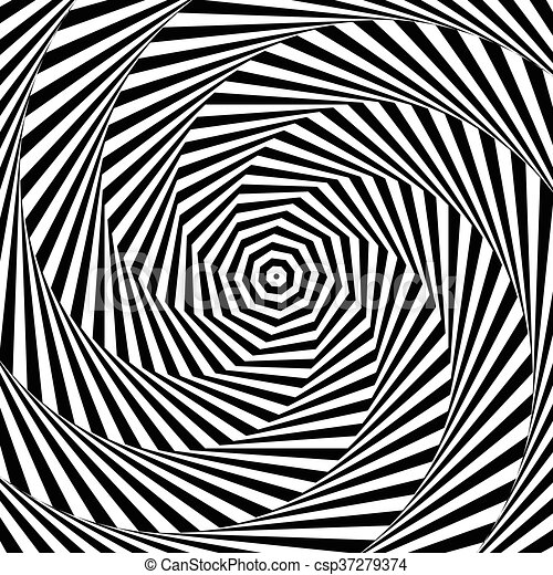 Uncolored, grayscale radiating shape with spirally, vortex distortion. - csp37279374