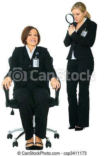 Uncomfortable Employee Look To Camera Afraid Of Investigator - csp3411173