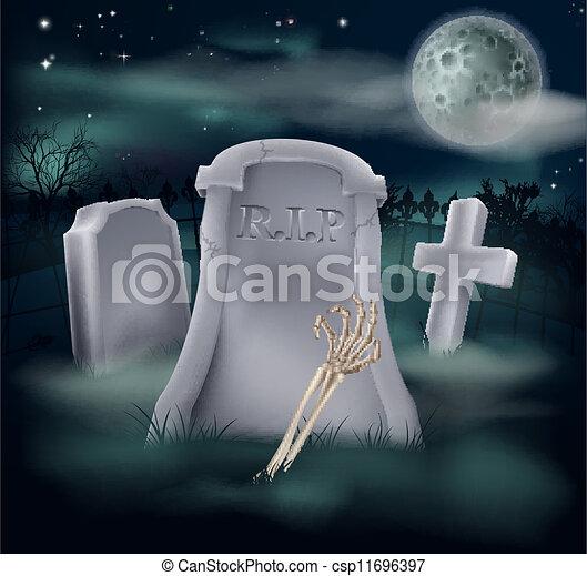 Undead skeleton hand grave - csp11696397