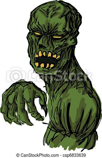 undead, zombie, abbildung, unheimlicher  - csp6833639