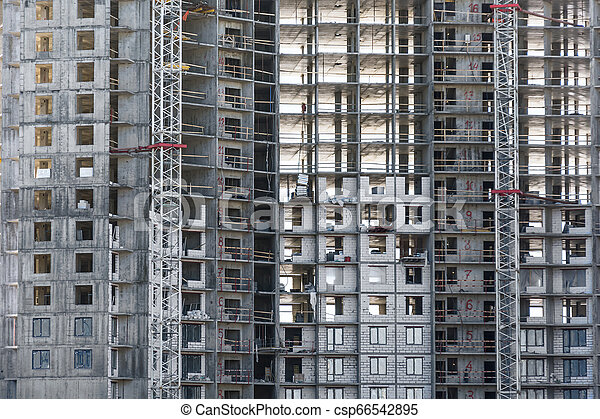 Under construction apartment building and residential real estate, close up view - csp66542895