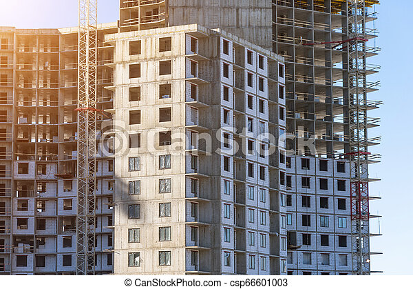 Under construction apartment building and residential real estate, corners of the buildings - csp66601003