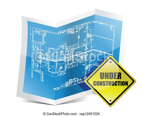 Under construction blueprint illustration design over white under construction blueprint csp12451524 malvernweather Choice Image
