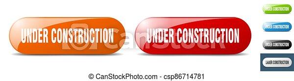 under construction button. key. sign. push button set - csp86714781
