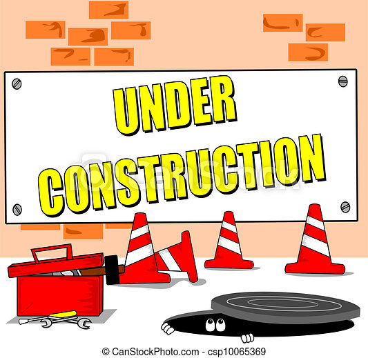 under construction cartoon a cartoon building site with under rh canstockphoto com construction cartoon pictures construction safety cartoon images