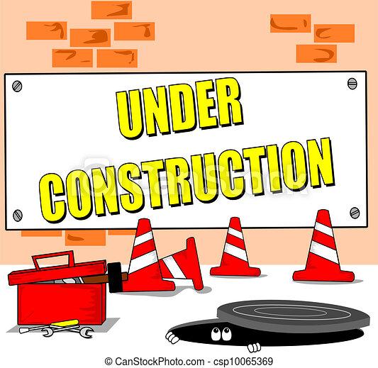 Clip Art Vector of Under construction cartoon - A cartoon building ...