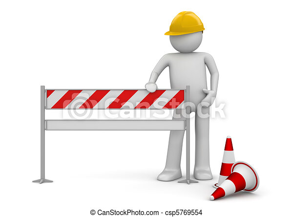Under construction concept. Worker stands by the barrier. One of a 1000+ series. - csp5769554