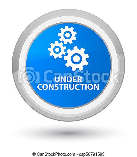Under construction (gears icon) prime cyan blue round button - csp50791593