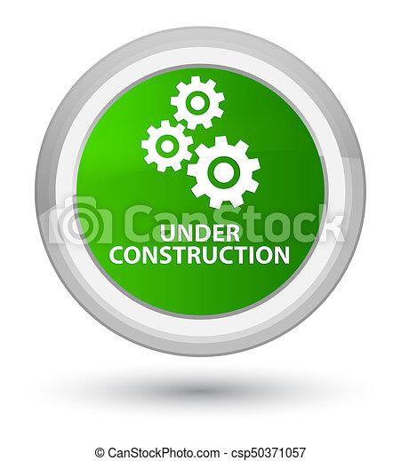 Under construction (gears icon) prime green round button - csp50371057