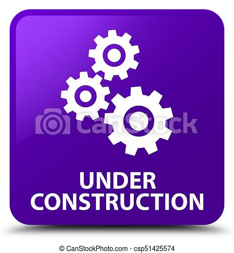 Under construction (gears icon) purple square button - csp51425574