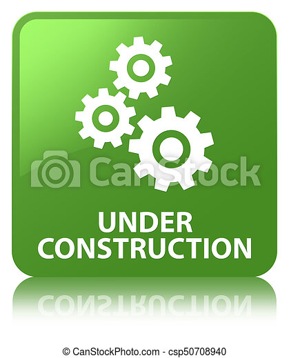 Under construction (gears icon) soft green square button - csp50708940