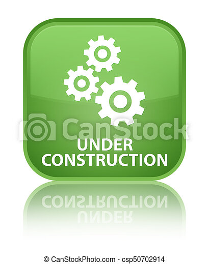 Under construction (gears icon) special soft green square button - csp50702914