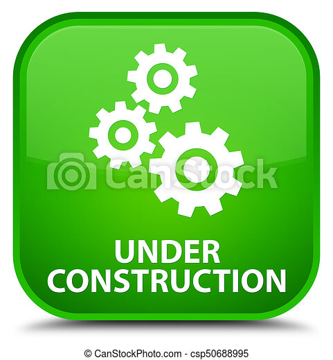 Under construction (gears icon) special green square button - csp50688995