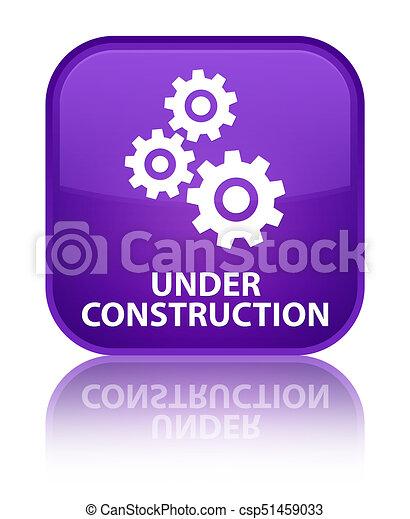 Under construction (gears icon) special purple square button - csp51459033