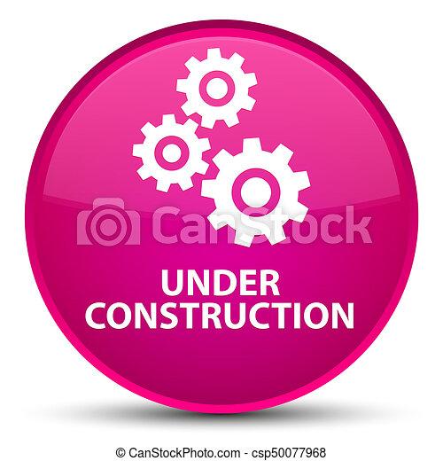 Under construction (gears icon) special pink round button - csp50077968