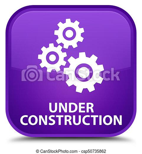Under construction (gears icon) special purple square button - csp50735862