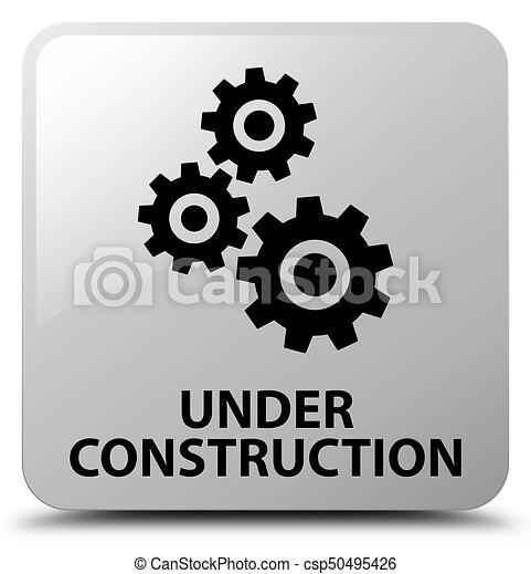 Under construction (gears icon) white square button - csp50495426