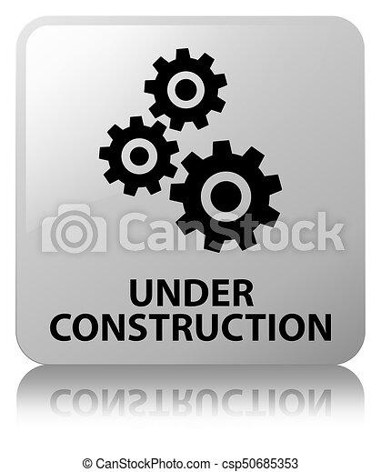 Under construction (gears icon) white square button - csp50685353