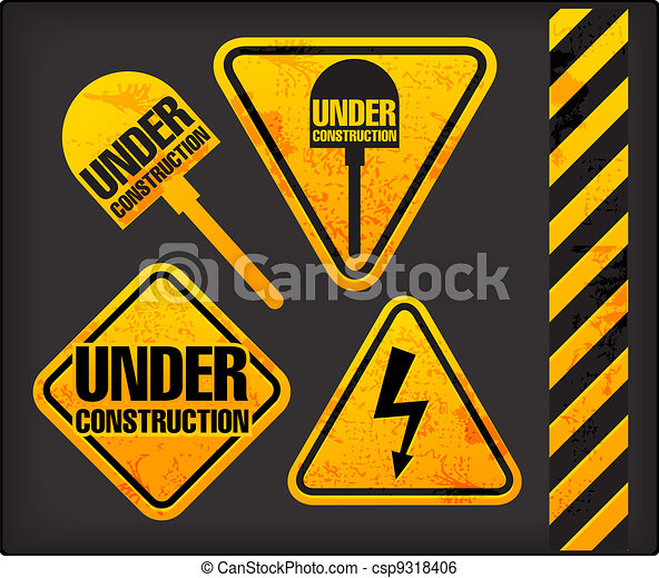 Under construction. Grunge signs with the lighting and spade - csp9318406