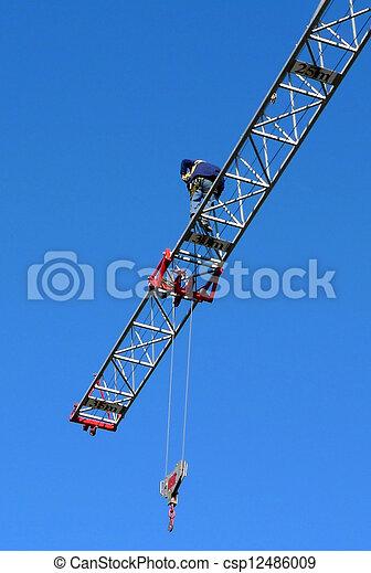 under construction, man at the crane - csp12486009