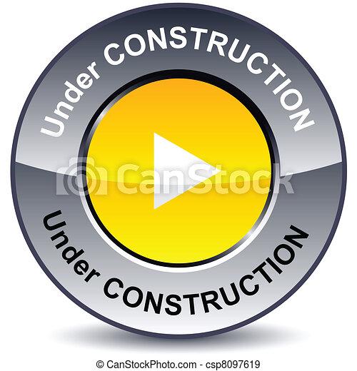 Under construction round button. - csp8097619