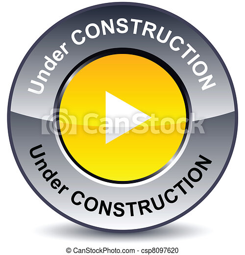 Under construction round button. - csp8097620