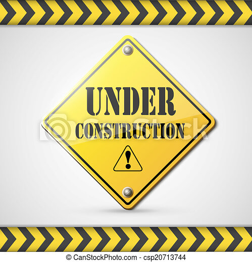 under construction sign on white - csp20713744