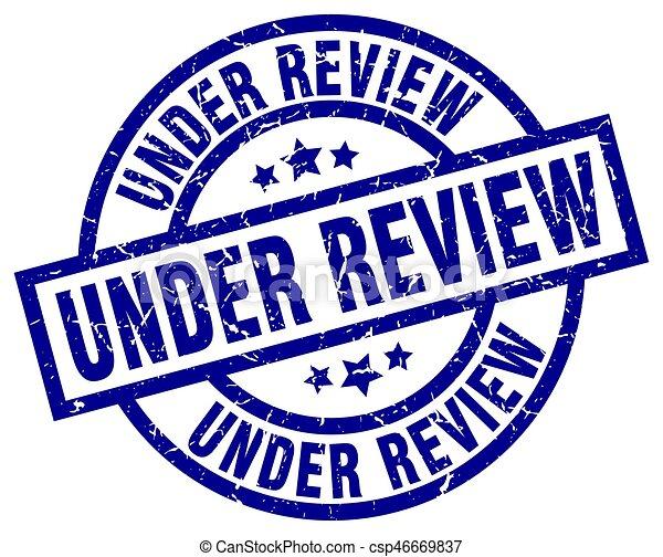under review blue round grunge stamp - csp46669837