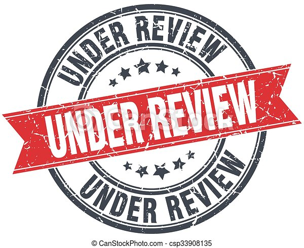under review red round grunge vintage ribbon stamp - csp33908135