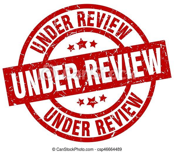 under review round red grunge stamp - csp46664489