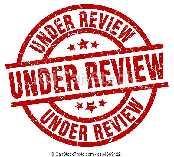 under review round red grunge stamp - csp46634221