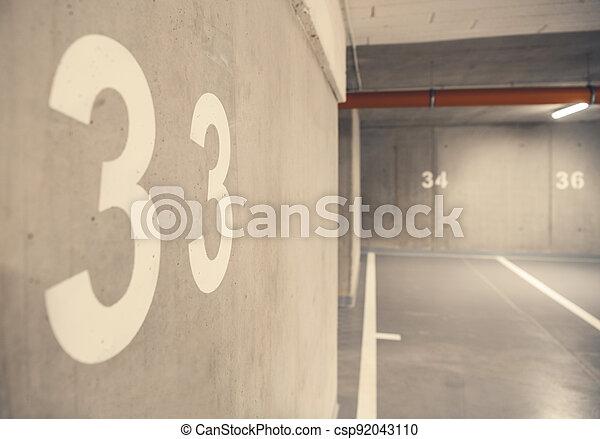Underground Car Garage Spaces - csp92043110