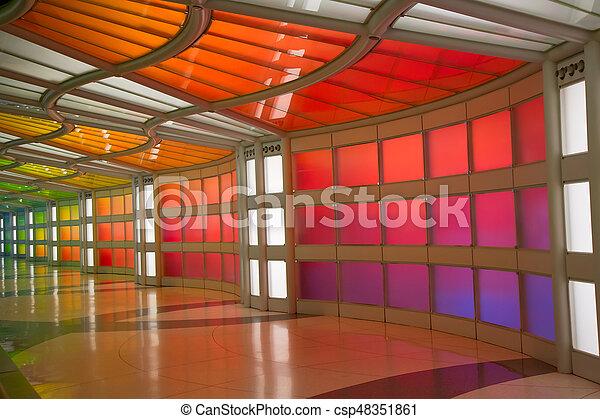 Underground passage in the Chicago O'Hare airport - csp48351861