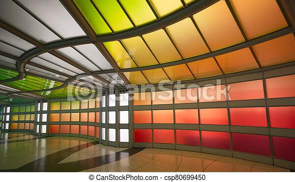 Underground passage in the Chicago O'Hare airport - csp80699450