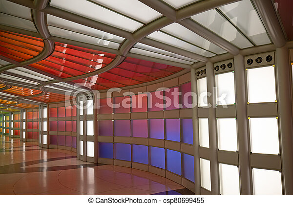 Underground passage in the Chicago O'Hare airport - csp80699455